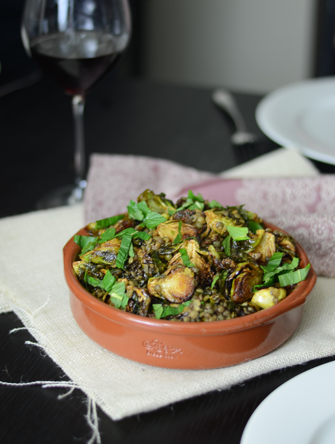 Porteno's Crispy Fried Brussels Sprouts with Lentils and Mint