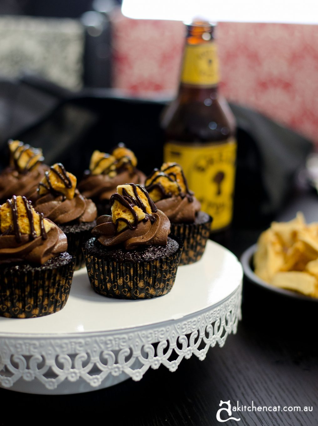 Chocolate Stout Cupcakes with Honeycomb