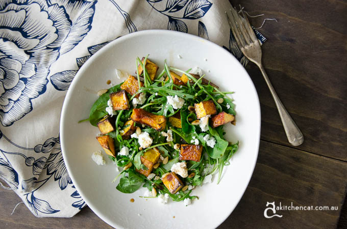 spiced roasted pumpkin salad with rocket and goats cheese