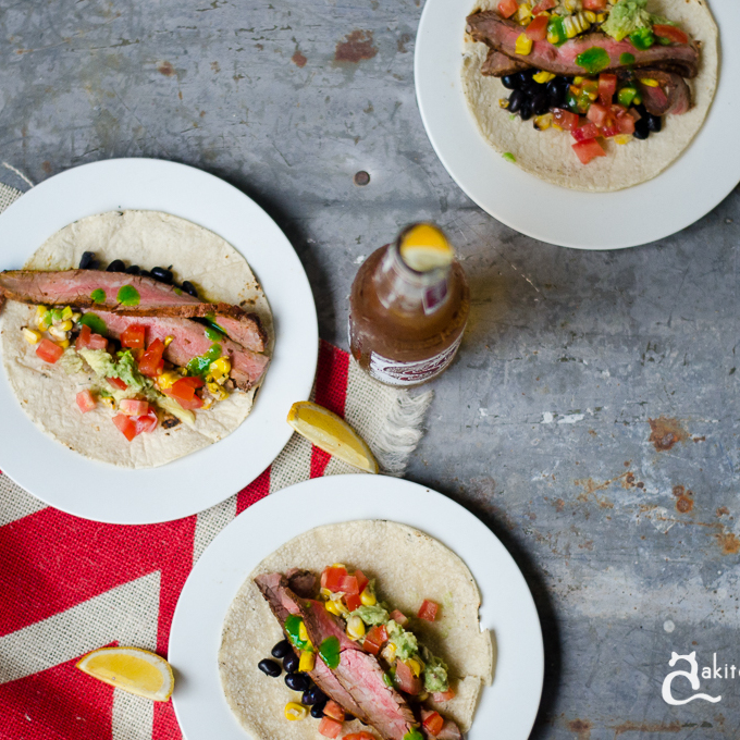 A mexican fiesta: Chargrilled flank steak tacos