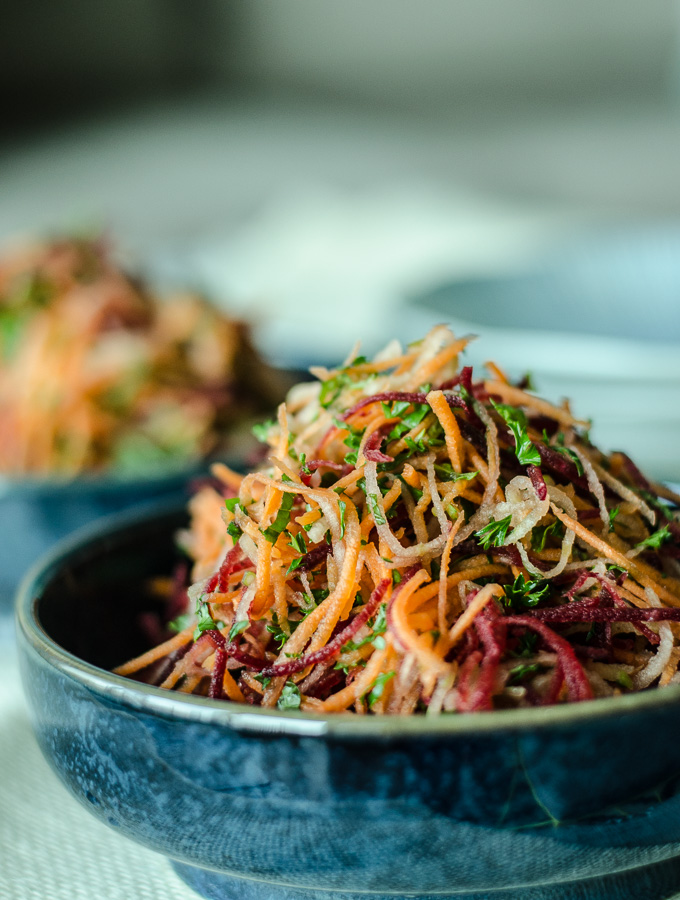 Grated Apple, Beetroot and Carrot Salad
