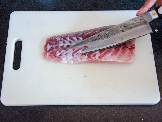 This is a different fillet but shows the whitish bits of skin that is sometimes left on and needs to be removed.