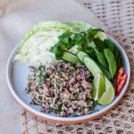 thai pork larb with crisp vegetables
